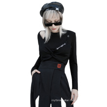 Dark series style spring women shirt O neck long sleeve black knitted T shirts OPT-571T ladies clothes wholesale price PUNK RAVE