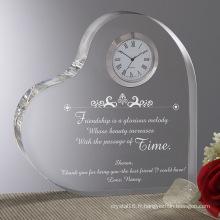 Horloge en cristal de forme de coeur pour la décoration à la maison