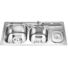 Best selling double bowl sink for kitchen with Waste Bin Best selling double bowl sink for kitchen with Waste Bin