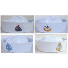 Flat embroidery custom white sailor cap for men
