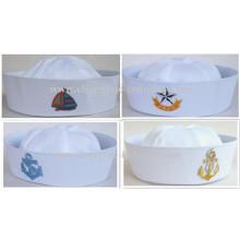 Cap de marinheiro branco personalizado bordado para homens