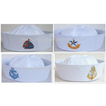 Flat embroidery custom white sailor cap for men