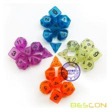Set of 7 Glow in the Dark Polyhedral Dice (7 Die in Set) | Role Playing Game Dice | D4, D6, D8, D10, D%, D12, and D20