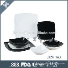 JX24-1AB 24pcs porcelain Square dinner set, plate set, red and black mix color set