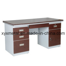 Professional Double Sides Drawers Lockable Steel Frame Office Desk