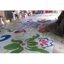 Carrelage mural en mosaïque en verre de motif de fleurs (HMP815)