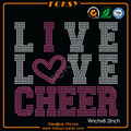 Live Love Cheer iron on crystal designs