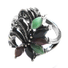 Fashion accessories multi color resin stones exaggerated metal alloy ring wholesale jewelry factory