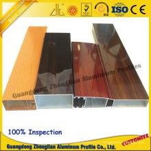Grain en bois adapté aux besoins du client en aluminium d'électrophorèse de profil d'extrusion pour le profil de fenêtre
