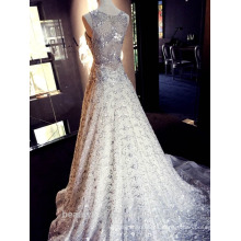 Nueva gasa elegante de encargo del hombro del A-line elegante del nuevo estilo con la flor Vestido nupcial formal del vestido de boda