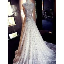 Estilo novo Custom Made Elegante A linha de um ombro branco chiffon com flor Formal vestido de noiva vestido de noiva
