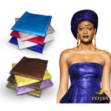 100% Coton Textile Tissu Pièces Coupées Colorant Stock Lot En Gros Africain Imprimer Brocade Bazin Riche 100 Vêtements Jacquard Prix