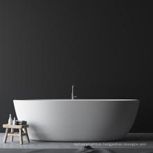 Custom size bathtub luxury bathroom freestanding faux artificial white marble stone acrylic resin solid surface bath tub bathtub