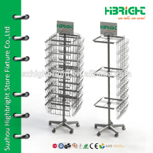 all-wire spinner stickers floor display rack for supermarket