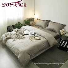 High Quality Hotel Bedding Linen Supplier 100% Cotton60s Plain gray Bed Sheets Set frame embroidery