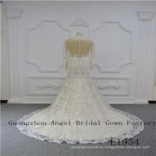 Manga longa com vestido de noiva de renda única