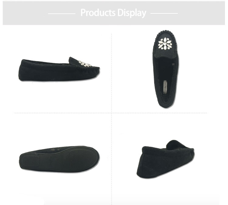 black suede moccasins shoes slippers for women