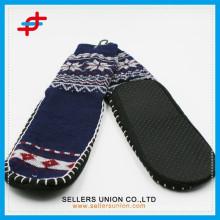 Мужчины Супер Толстые Крытый Теплый Аргайл и Снежинки Противоскользящие Полоса Носки Ботинок