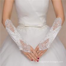 Accesorios de la boda de satén encaje codo el codo guantes de encaje de alta calidad de la boda