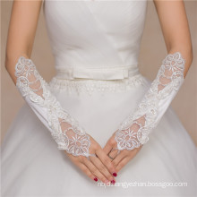 Satin wedding accessories lace appiliques elbow high quality wedding lace gloves