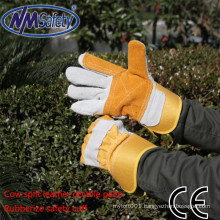 NMSAFETY cow split leather gloves double palm welding glove