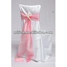 Chaise de polyester élégant couvre avec ceinture d'organza pour mariage et banquet