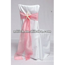Elegant polyester chair covers with organza sash for wedding and banquet