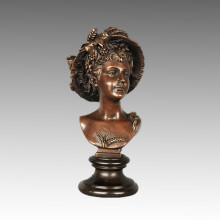 Bustos Escultura de Bronze Figura Feminina Deusa Demetria Latão Estátua TPE-792