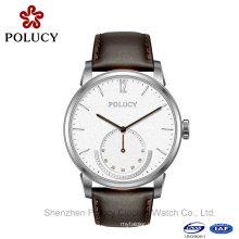 Männer Kleid Leder Uhren männlichen Edelstahl wasserdicht Sport Armbanduhr