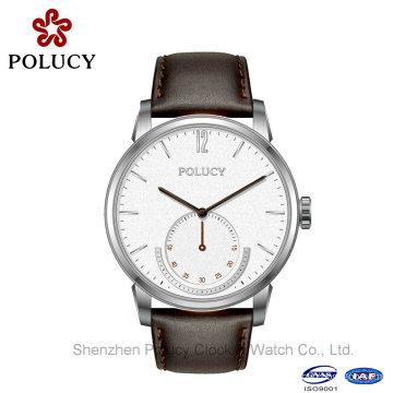 Hombres vestido cuero relojes hombre acero inoxidable resistente al agua deporte reloj