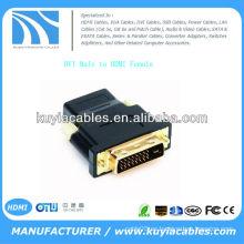 Alto rendimiento DVI macho a HDMI hembra MF adaptador convertidor para HDTV