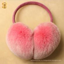 Оптовые новые приходят розовые ребра Rabbt Fur мягкие теплые ушные муфты