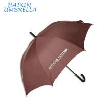 2018 Nova Promocional Publicidade 190 T Pongee Cor Marrom Presente de Couro Lidar Com Um Vara Guarda-chuva Automático com Logotipo Imprime