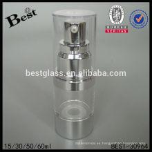 Botella cosmética clara redonda de la bomba de vacío 15/30/50 / 60ml, botella airless plástica de la bomba, botella sin aire de la loción de los cosméticos para la venta