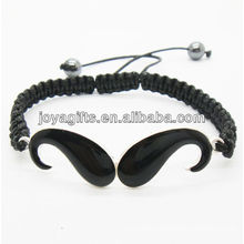 Enamel beard alloy woven bracelet with black wire