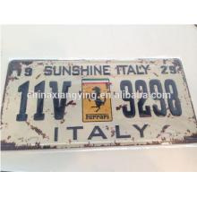 Car Brand with Retro and Rust Technology with Car Logo for Reflective Decorative Car Plate
