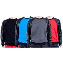 Multicolor Patch Leather Plain Sweatshirts Oversized