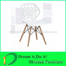 ABS plastic chair with wooden legs