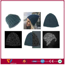 China new arrival fashion knit winter refectlive yarn beanie hats for outdoor for safety