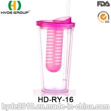 Gobelet en verre promotionnel de gobelet en plastique avec de la paille