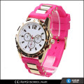 silcone band quartz stainless steel watch water resistant