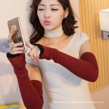 haute qualité personnalisée multi couleur laine tricotée gants longs