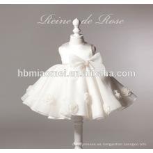 vestido de la muchacha del vestido de la muchacha de flor del color blanco de la nueva moda 2-6 años para la boda
