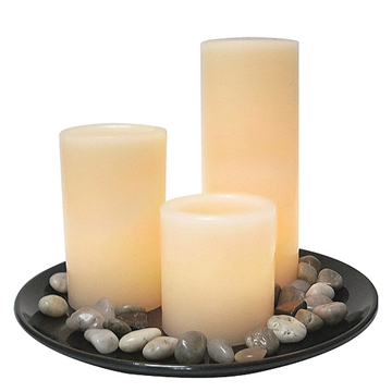 led candle set with stone and wooden tray