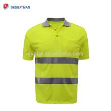 LOGOTIPO personalizado que imprime la camiseta del polo de la alta visibilidad Hola viz reflectante chaleco de seguridad que equipa la manga corta con el bolsillo