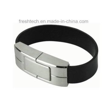 Elegante couro aço pulseira USB Flash Drive (D551)