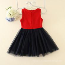 chinstmas nouveaux modèles de vente chaude enfants bébé vêtements rose foncé grande fleur appliqued vêtements en laine sans manches