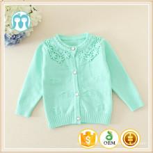 Manches longues O-cou enfants coloré coton / laine cardigan côtelé garniture enfant bleu swearter avec bouton avant en gros enfants pull