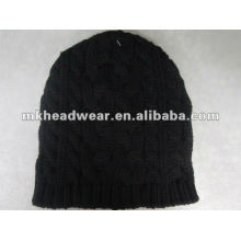 cable stitched black winter hat