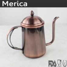 Chaleira de café de aço inoxidável de bronze